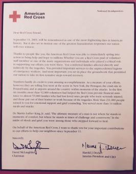 Red Cross letter of thanks