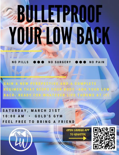 bulletproof your low back event flyer