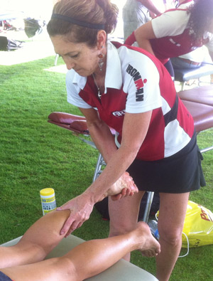 Chiropractor Northeast Colorado Springs giving ART® treatment after IronMan race.