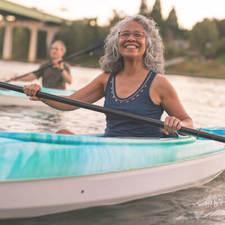 Woman smiling in kayak