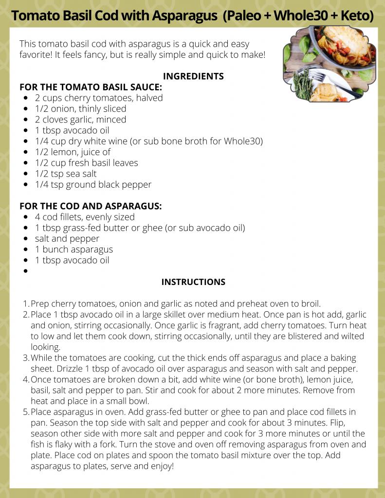 April Recipe - TOMATO BASIL COD W/ ASPARAGUS (PALEO + WHOLE30)