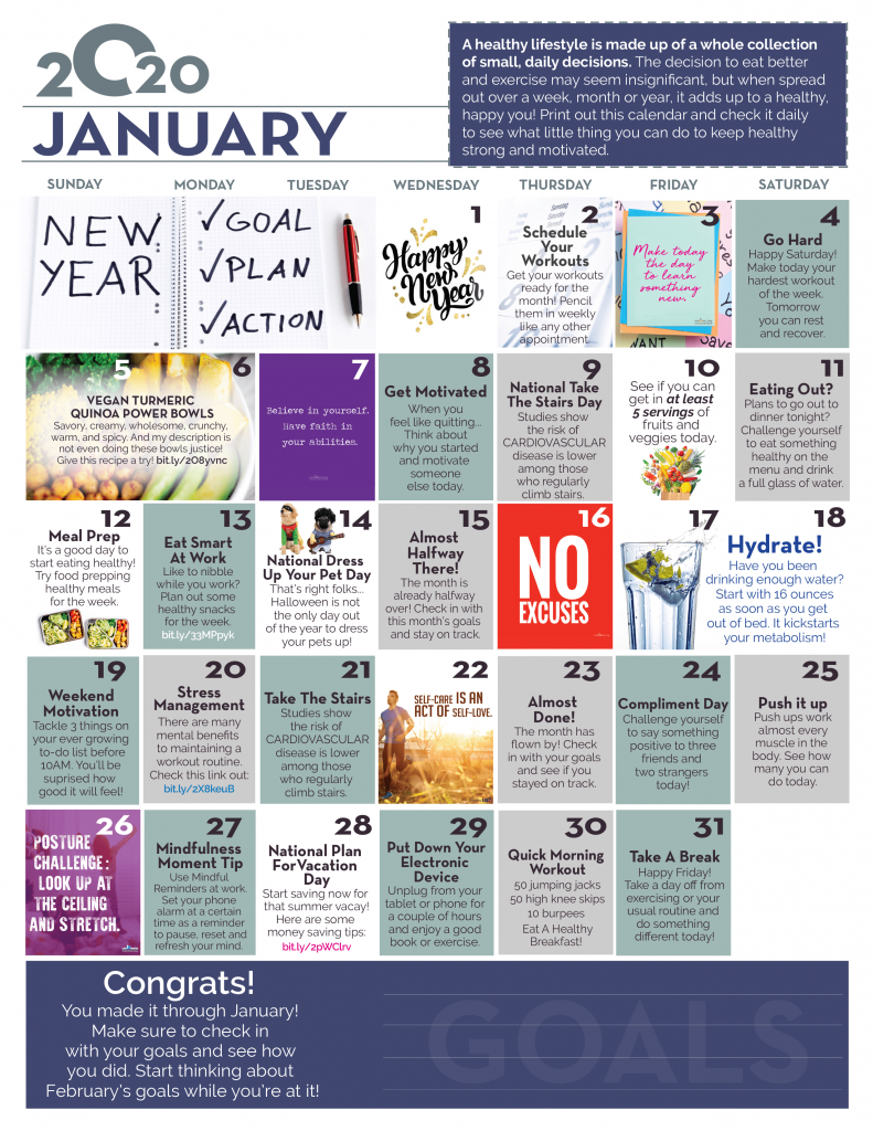 january wellness calendar