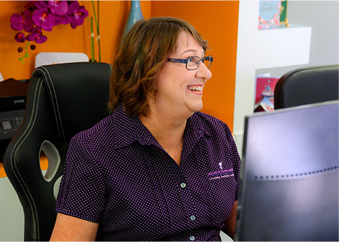 receptionist educating patient