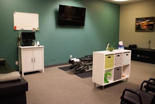 A chiropractic adjustment room