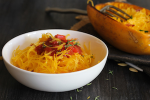 Spaghetti squash Pasta marinara served in a white bowl