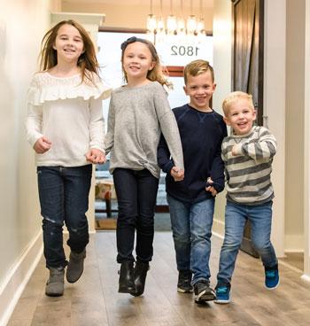 Kids walking in hallway