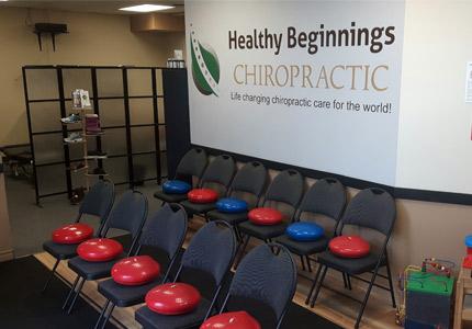Healthy Beginnings Chiropractic warm up room.