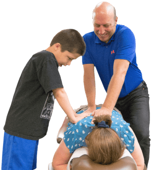Glendale Chiropractor Dr. Dale Ellwein giving chiropractic adjustment.
