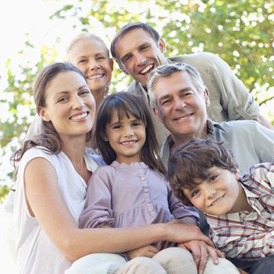 Mutligenerational Smiling Family
