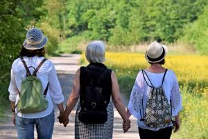 women walk
