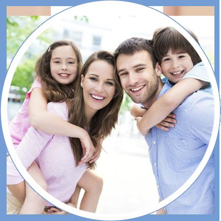 Smiling, happy family