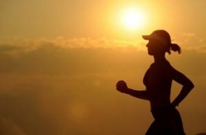 Female running at sunset