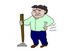 Cartoon man holding his back in pain