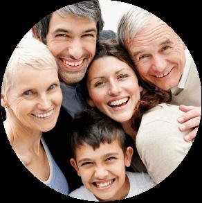 Smiling multi generational family