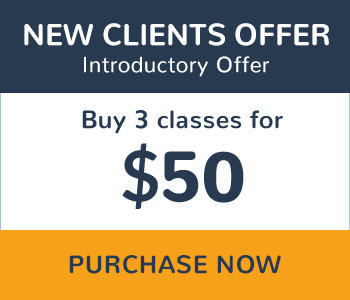 New Clients Offer Buy 3 classes for $50 Purchase Now
