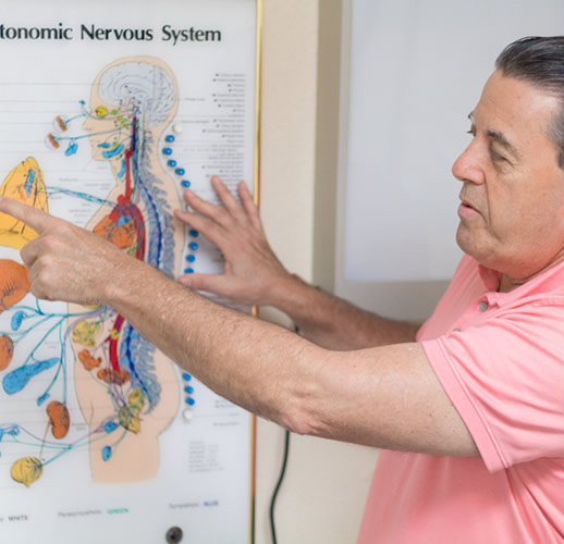 Dr. Bob pointing at chart