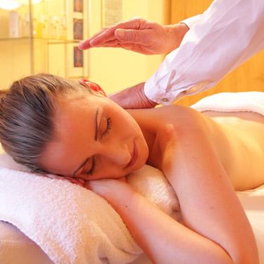 woman calming massage