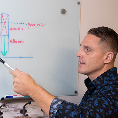 Dr. Kyle writing on a whiteboard