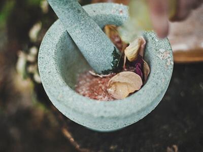 Bowl of mixed herbs