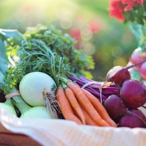 Basket of vegetables on table