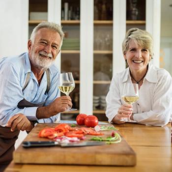 mature couple kitchen table