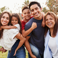 Multi-generational family smiling