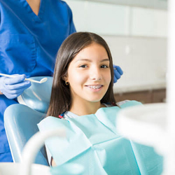 Girl at orthodontist appointment