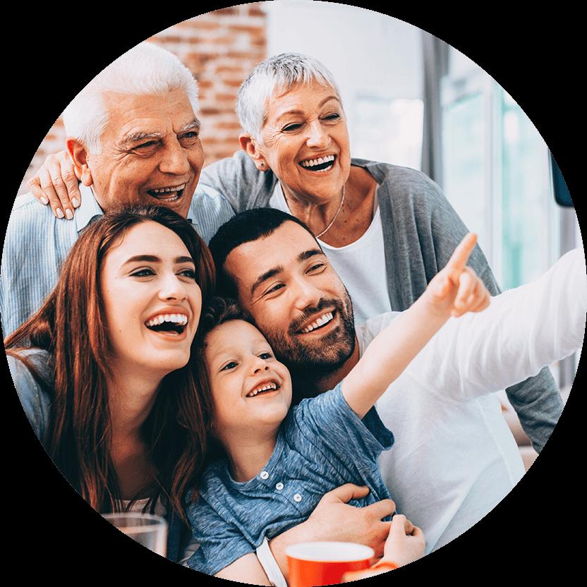 multi-generation family smiling