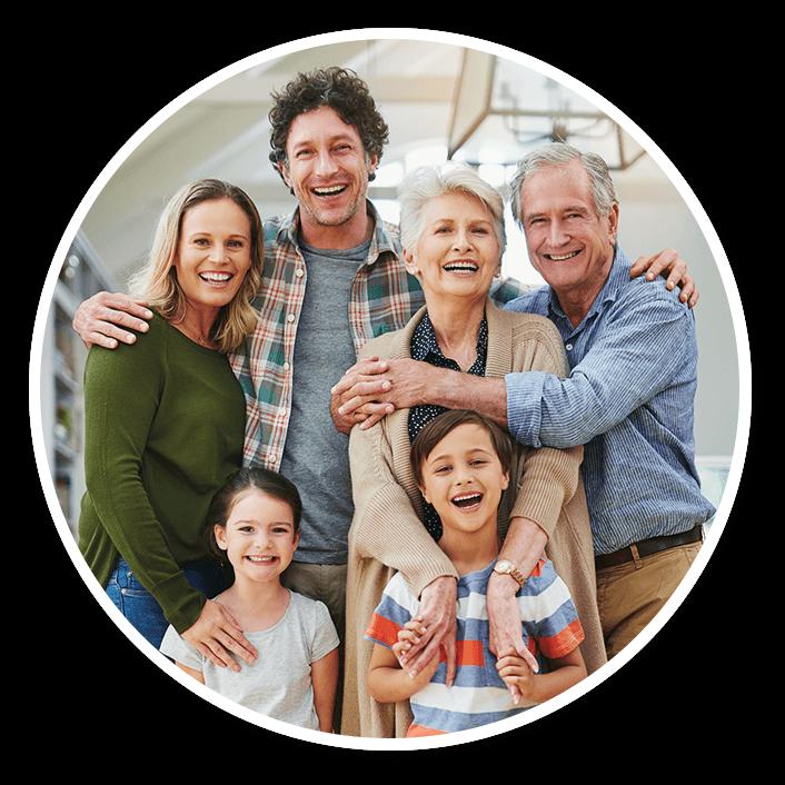 Smiling multi-generational family