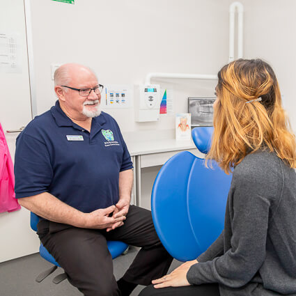 Dr Allen with patient