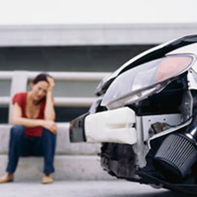 Woman after car wreck