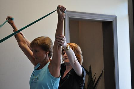 Woman doing rehabilitation