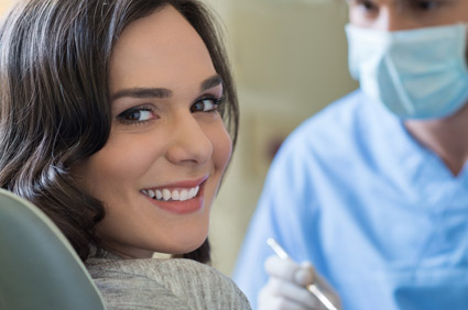 woman smiling with white clean smile