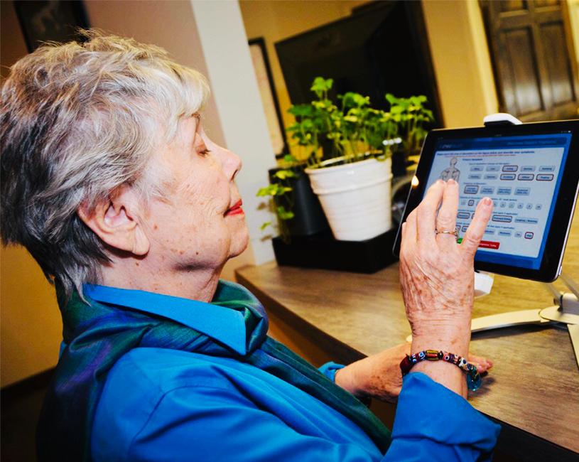 Elderly lady  checking in