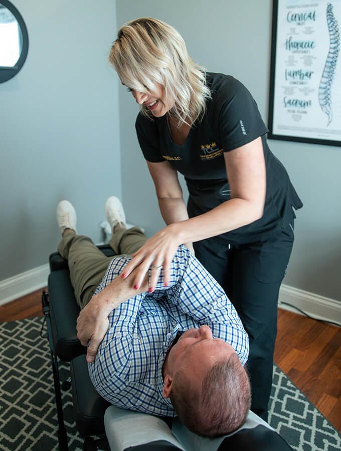 doctor jenny adjusting patient