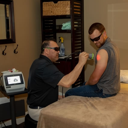Patient getting laser therapy treatment