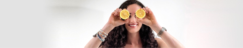 Gabrielle with oranges