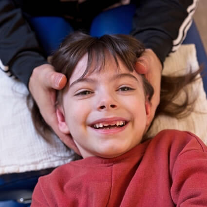 girl smiling during adjustment
