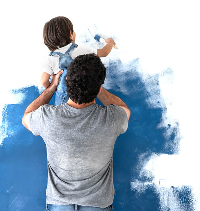 father and son painting