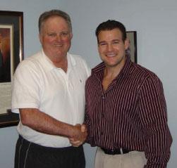 Dr. Baker with his patient Joe.