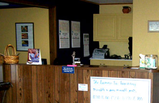 The front desk at the Gregory clinic.