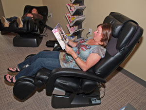 Enjoy our massage chairs while you wait to see the doctor.