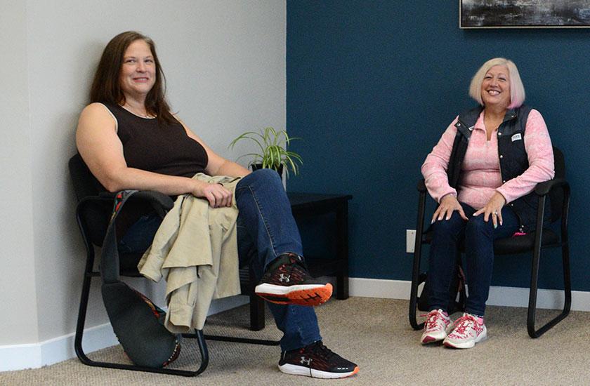 ladies in waiting room