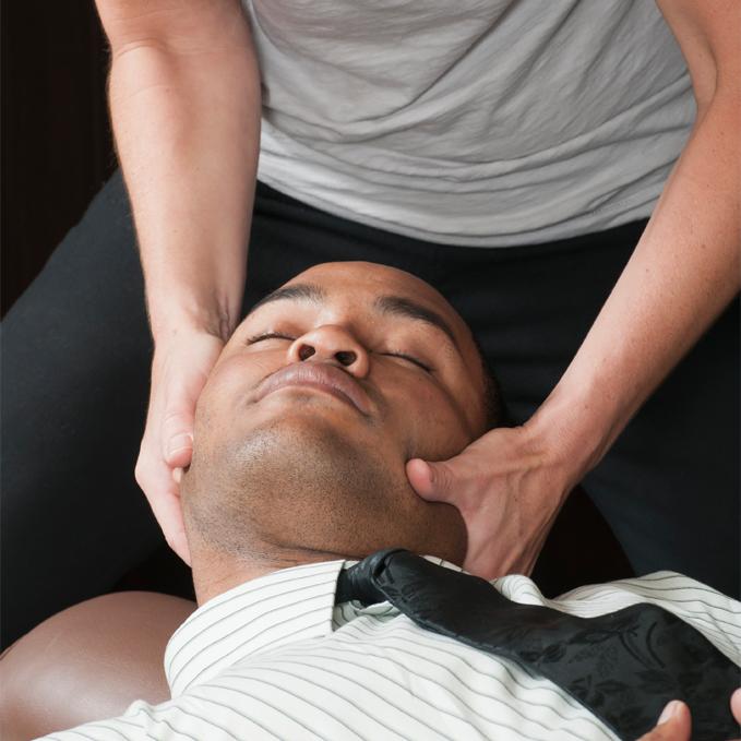man getting neck adjustment