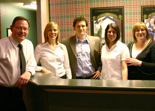 The staff at the front desk of Streetsville Chiropractic in Mississauga