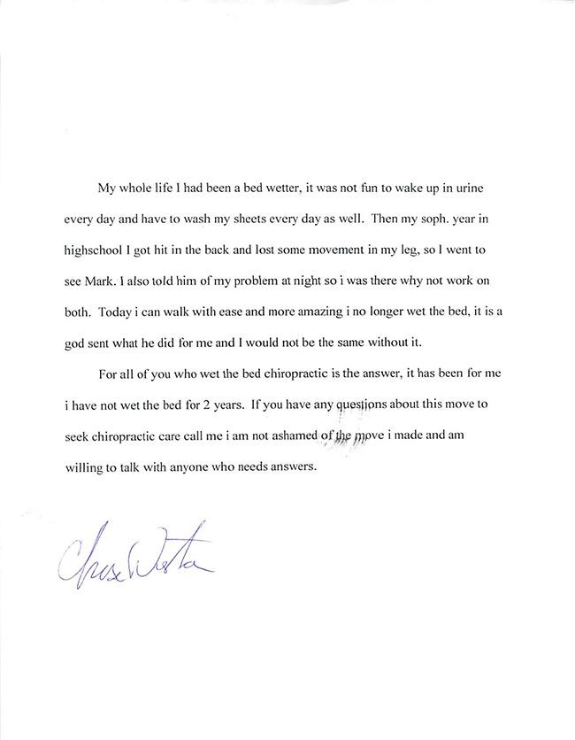 Chase's written testimonial