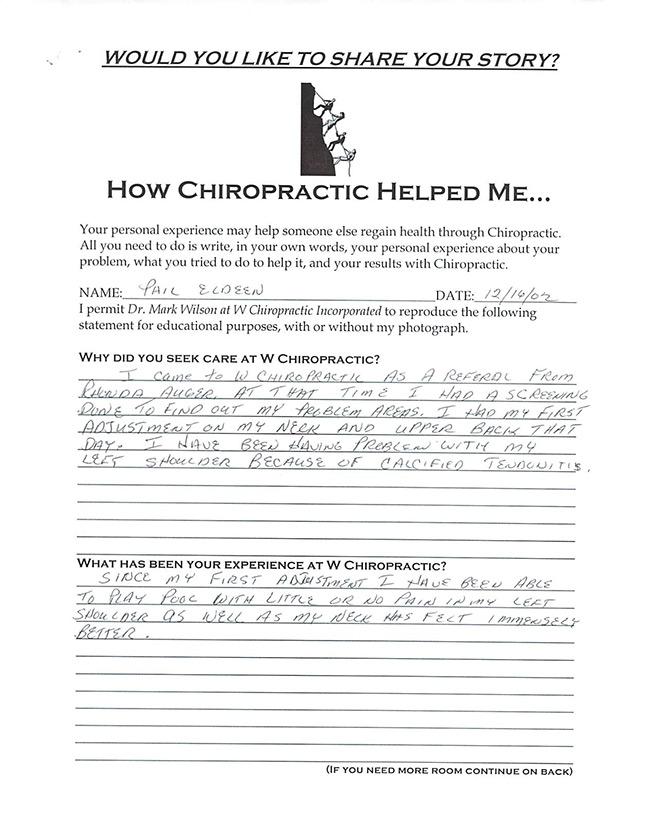 Phil's written testimonial