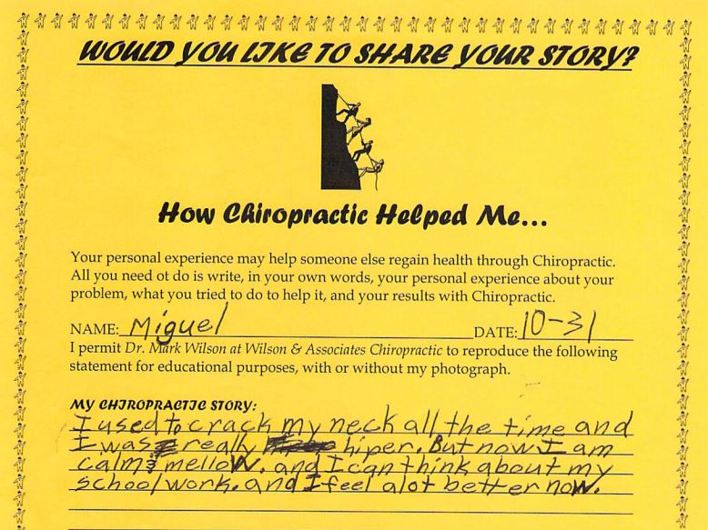 Miguel's written testimonial