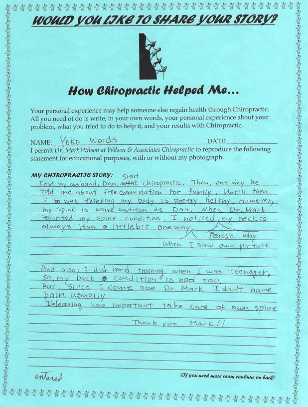 Yoko's written testimonial