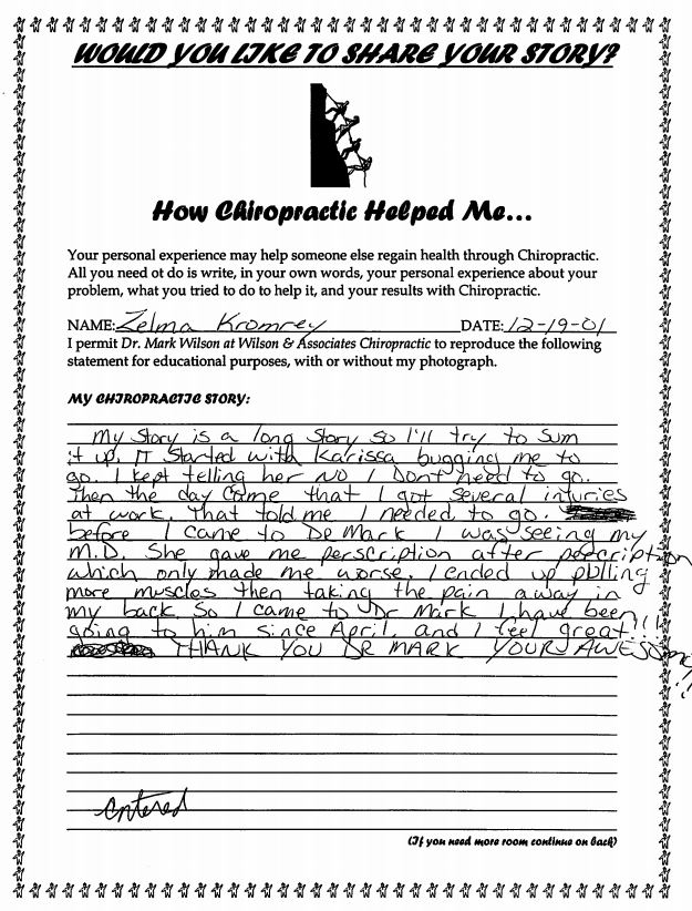 Zelma's written testimonial